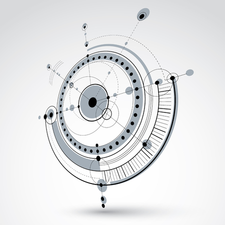 technical drawing: Technical drawing made using dashed lines and geometric circles. Black and white perspective vector wallpaper created in communications technology style, 3d engine design.
