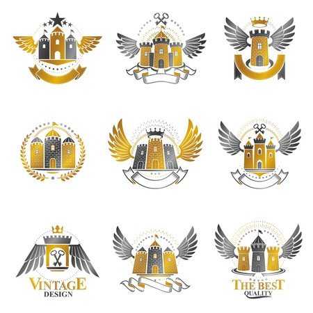 citadel: Ancient Castles emblems set. Heraldic Coat of Arms decorative logos isolated vector illustrations collection.