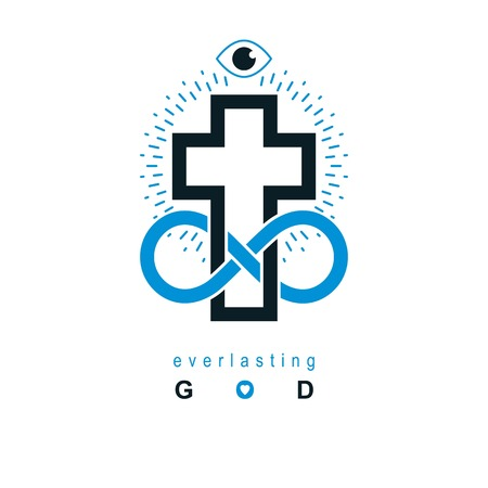 conceptual symbol: Immortal God conceptual symbol combined with infinity loop sign and Christian Cross, vector creative logo. Illustration