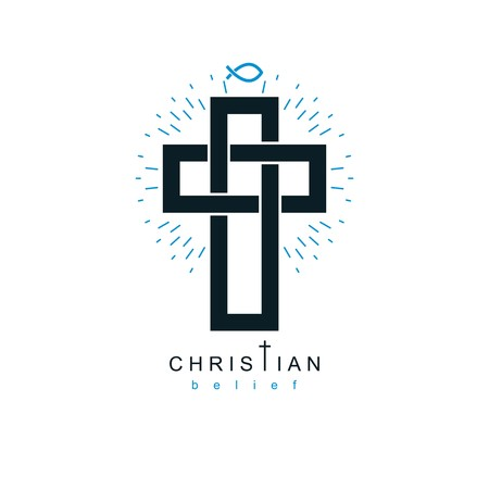 sinner: Christian Cross vector symbol, Christianity God religion icon.