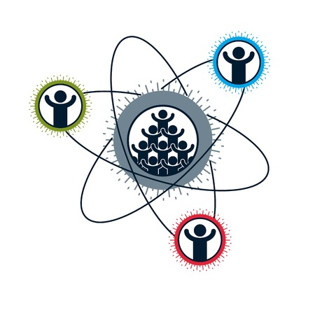 mankind: Society and Person interaction creative logo, unique vector symbol created with different icons. System and social Matrix sign. Person and society interacts with each other.