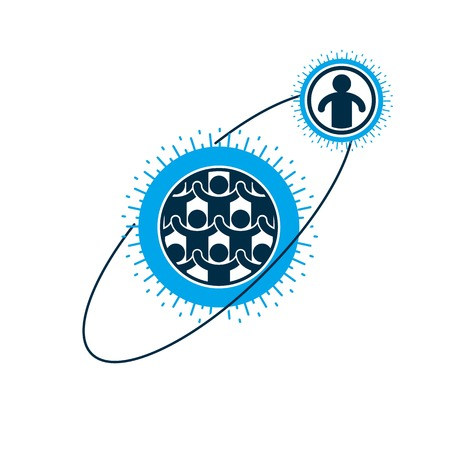interacts: Society and Person interaction creative logo, unique vector symbol created with different icons. System and social Matrix sign. Person and society interacts with each other.