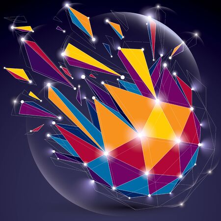 refractions: 3d vector low poly object with sparkles, white connected lines and dots, geometric wireframe shape with refractions. Radiance perspective colorful shattered form. Illustration