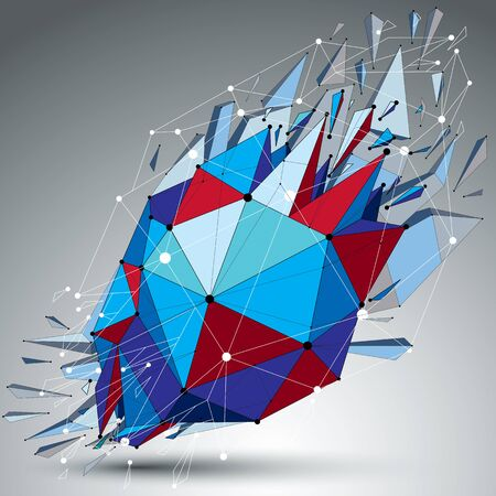 Abstract 3d faceted blue spherical figure with connected black lines and dots. Vector low poly shattered design element with fragments and particles. Explosion effect.