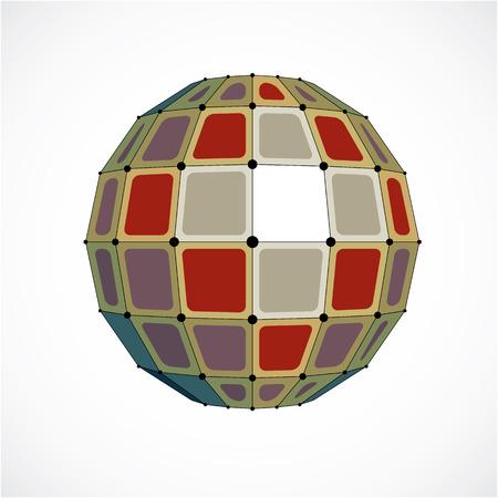 3d vecteur low poly objet sphérique avec des lignes noires connectés et des points, la forme de wireframe coloré géométrique. Perspective facette orbe créée avec des carrés.
