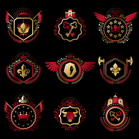 eagle shield and laurel wreath: Set of vector vintage emblems created with decorative elements like crowns, stars, bird wings, armory and animals.  Collection of heraldic coat of arms.