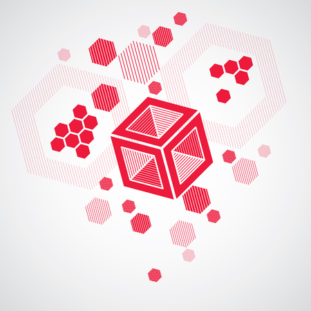 overlie: Bauhaus retro wallpaper, art vector red background made using grid, circles and rhombuses. Geometric graphic 1960s illustration can be used as booklet cover design. Technological pattern.