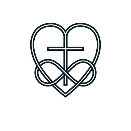 Immortal God Christian Love conceptual logo design combined with infinity loop sign and Christian Cross and heart, vector creative symbol. Vettoriali
