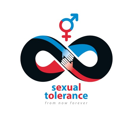 hetero: Sexual Tolerance hetero and homosexuals conceptual symbol, Zero tolerance, vector symbol created with infinity loop sign and two hands of people of different orientation touching and reaching each other.