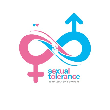 bisexuality: Timeless Loving Couple concept, vector symbol created with infinity sign and male Mars an female Venus signs. Relationship creative idea.