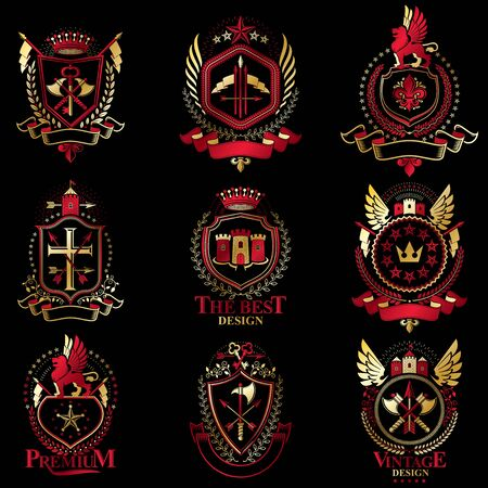 citadel: Vector classy heraldic Coat of Arms. Collection of blazons stylized in vintage design and created with graphic elements, royal crowns and flags, stars, towers, armory, religious crosses.