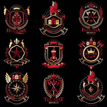 armory: Vector classy heraldic Coat of Arms. Collection of blazons stylized in vintage design and created with graphic elements, royal crowns and flags, stars, towers, armory, religious crosses.