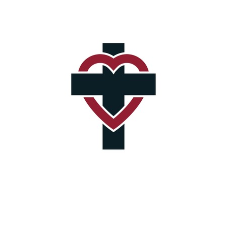 credence: Love of God vector creative symbol design combined with Christian Cross and heart, vector logo or sign. Illustration
