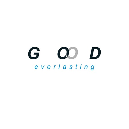 credence: God everlasting and belief lettering logo isolated on white.