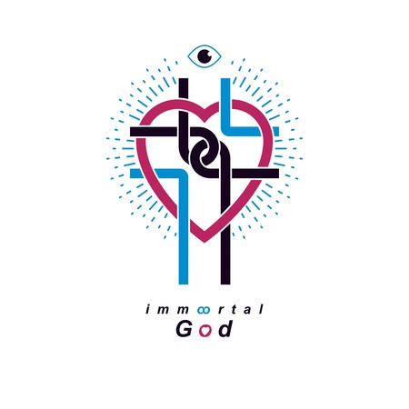 immortal: Love of God conceptual symbol combined with Christian Cross and heart, vector creative logo.