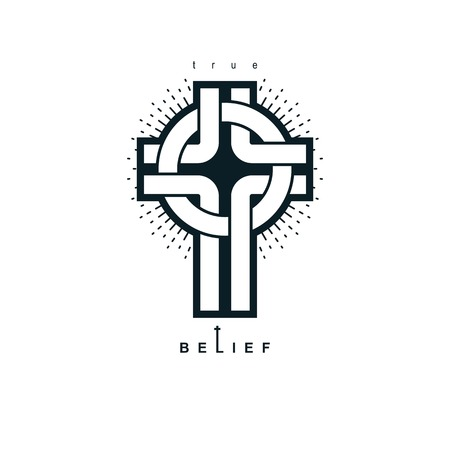 Christian Cross true belief vector religion symbol, Christianity Jesus icon. Illustration