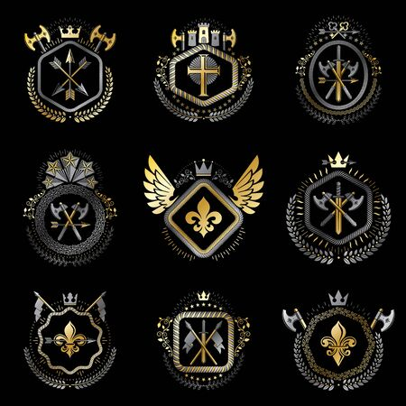 arsenal: Heraldic decorative emblems made with royal crowns, animal illustrations, religious crosses, armory and medieval castles. Collection of symbols in vintage style. Illustration