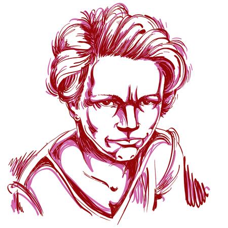 Vectorkunsttekening, portret van boos die meisje op wit wordt geïsoleerd. Gelaatsuitdrukkingen, mensen negatieve emoties. Stock Illustratie