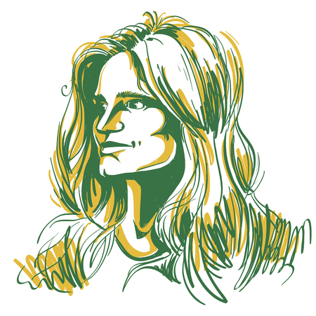 Vector portrait of attractive pensive woman, illustration of good-looking romantic female. Person emotional face expression.