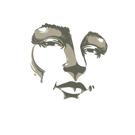 flirting: Hand-drawn monochrome portrait of white-skin flirting woman, face emotions theme illustration. Beautiful sexy lady posing on white background, girl with delicate face features.