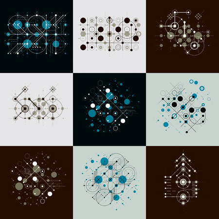 modernism: Collection of Bauhaus retro wallpapers, art vector backgrounds made using grid and circles. Geometric graphic 1960s illustrations can be used as booklets cover design.