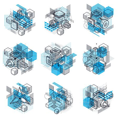 modular rhythm: Abstract isometrics backgrounds, 3d vector layout. Compositions of cubes, hexagons, squares, rectangles and different abstract elements. Vector collection.