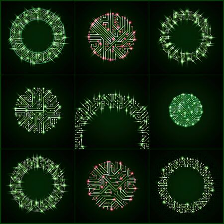 electronic components: Round luminescent green circuit boards with electronic components of technology device. Computer motherboards cybernetic vector abstractions with flash effect and arrows. Illustration