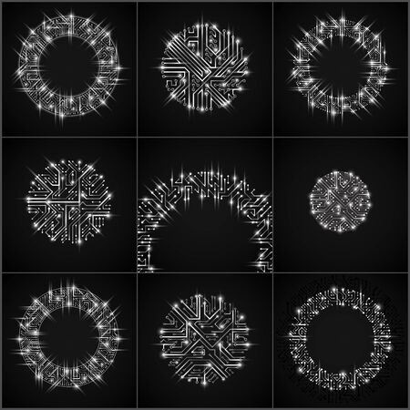electronic components: Round luminescent gray circuit boards with electronic components of technology device. Computer motherboards cybernetic vector abstractions with flash effect and arrows.