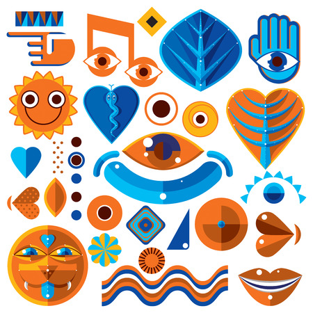 Set of different modernistic vector symbols can be used in corporate and web design. Conceptual icons collection created in nature and music theme, body and face parts.
