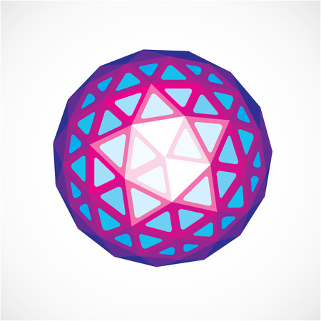 3d form, futuristic origami abstract modeling. Purple vector low poly design element, cybernetic orb shape for use in science and technology.