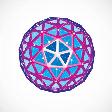 Abstract 3d faceted figure with connected black lines and dots. Purple vector low poly design element, cybernetic orb shape with grid and lines mesh.