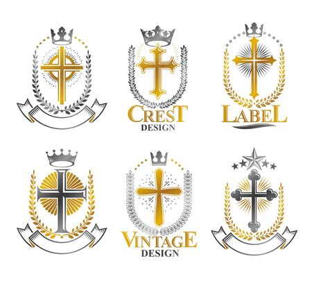 christian crosses: Christian Crosses emblems set. Heraldic vector design elements collection. Retro style label, heraldry logo.