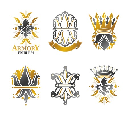lily flowers collection: Royal symbols Lily Flowers, floral and crowns, emblems set. Heraldic vector design elements collection. Retro style label, heraldry logo.