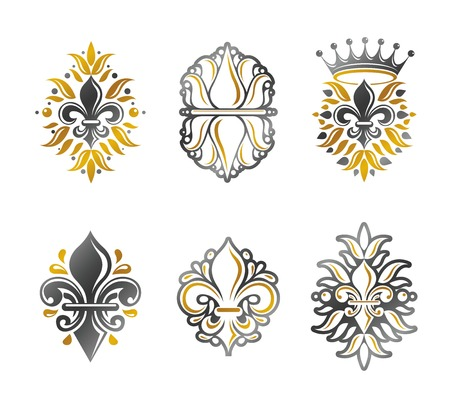 lily flowers collection: Lily Flowers Royal symbols, floral and crowns,  emblems set. Heraldic Coat of Arms decorative logos isolated vector illustrations collection.