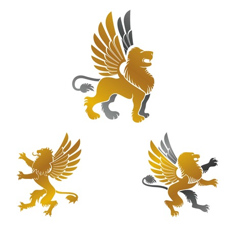 leon con alas: Winged Lion ancient emblems elements set. Heraldic vector design elements collection. Retro style label, heraldry logo. Vectores