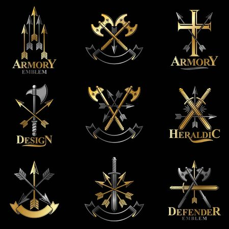 arsenal: Vintage Weapon Emblems set. Heraldic Coat of Arms decorative emblems isolated vector illustrations collection.
