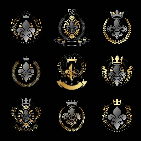 lily flowers collection: Royal symbols Lily Flowers emblems set. Heraldic vector design elements collection. Retro style label, heraldry logo.