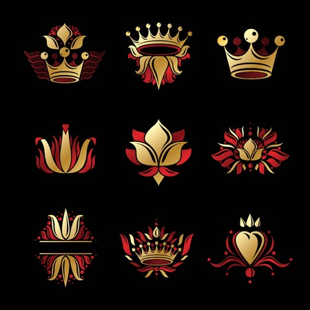 Royal symbols, Flowers, floral and crowns, emblems set. Heraldic vector design elements collection. Retro style label, heraldry logo.