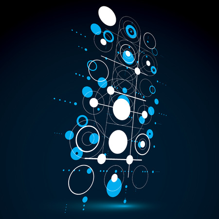 3d vector abstract blue background created in Bauhaus retro style. Dimensional modern geometric composition can be used as templates and layouts. Illustration