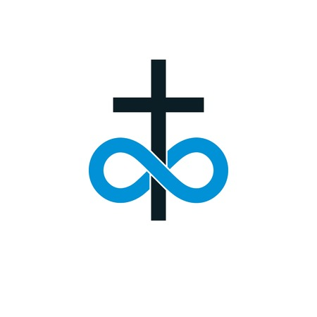 Immortal God conceptual symbol combined with infinity loop sign and Christian Cross, vector creative logo. Illustration