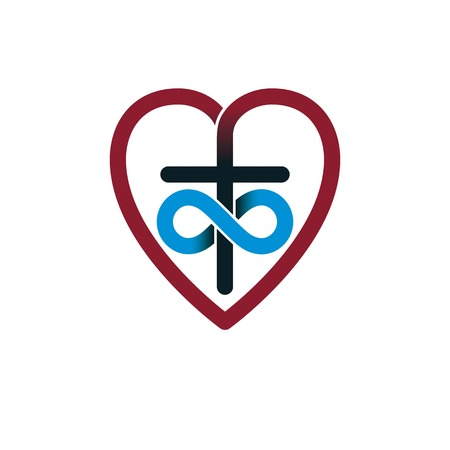 Immortal God Christian Love conceptual logo design combined with infinity loop sign and Christian Cross and heart, vector creative symbol. Illustration