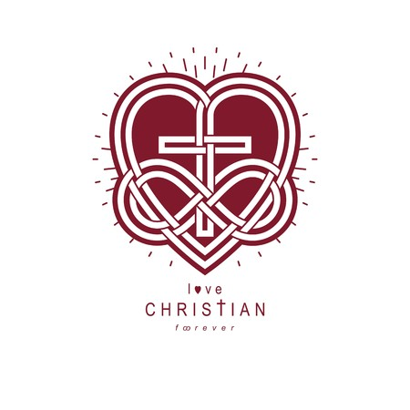 everlasting: Immortal Love of God conceptual symbol combined with infinity loop sign and Christian Cross with heart, vector creative logo. Illustration