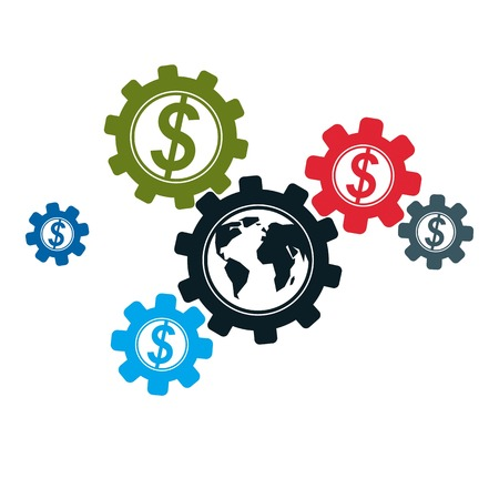 Global Business and E-Business creative logo, unique vector symbol created with different elements. Global Financial System. World Economy.