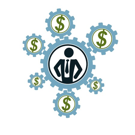 conceptual symbol: Successful Businessman and Leader creative logo, vector conceptual symbol isolated on white background. Special and unique sign. Gears and cogs system. Social leader.