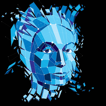 mindful: Face of a thinking woman created in low poly style and with connected lines, 3d vector blue wireframe human head, brain exploding which symbolizes intelligence and imagination. Illustration