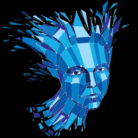 splinters: 3d vector portrait created with lines mesh. Intelligence allegory, blue low poly face with splinters which fall apart, head exploding with ideas, thoughts and imagination.