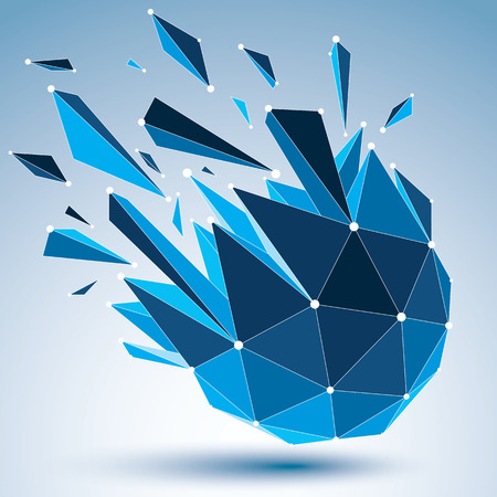 3d vector digital wireframe object broken into different particles and refractions, geometric polygonal structure with blue lines mesh. Low poly shattered shape with luminescent effect.