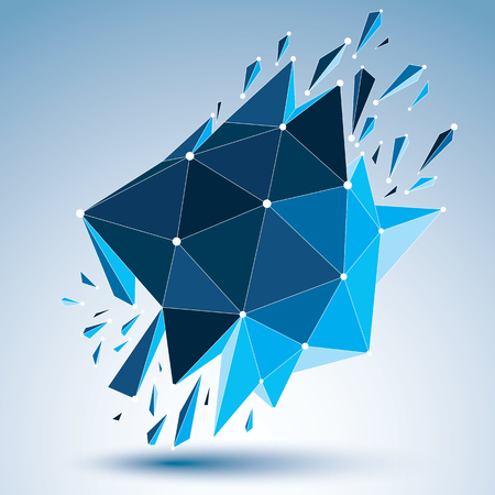 3d vector low poly object with connected black and white lines and dots, blue geometric wireframe shape with refractions. Asymmetric perspective shattered form. Illustration