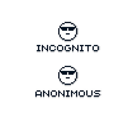 anonymous: Anonymous personality wearing eyeglasses. Vector retro sign made in pixel art style. Geometric pixilated symbol.