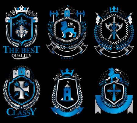 armory: Set of luxury heraldic vector templates. Collection of vector symbolic blazons made using graphic elements, royal crowns, medieval castles, armory and religious crosses.